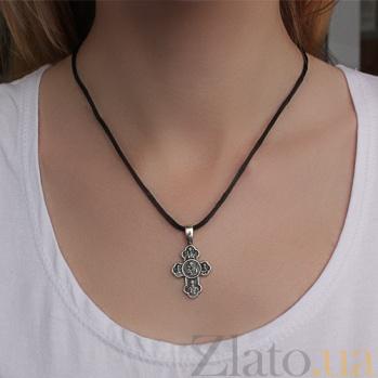 Серебряный крест с чернением Небесные ангелы ONX--13606