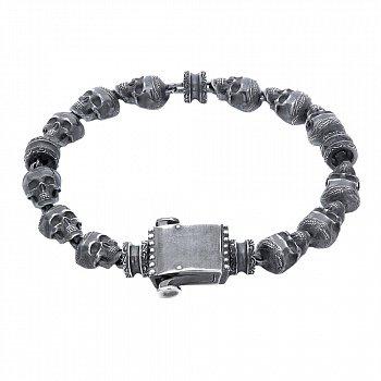Серебряный черненый браслет Memento mori со звеньями-черепами 000088983