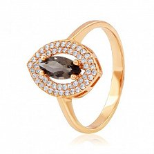 Золотое кольцо в красном цвете с раухтопазом Артемида