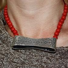 Серебряное колье с красными кораллами Бродвей