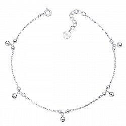 Серебряный браслет с бусинками-подвесками якорного плетения 000124564