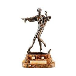 Бронзовая скульптура Терпсихора на подставке из яшмы и оникса 000051948