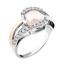 Серебряное кольцо с золотой накладкой, жемчугом, фианитами и родированием 000066711