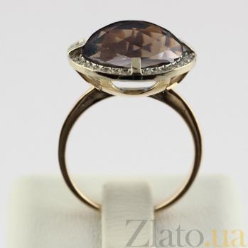 Золотое кольцо с раухтопазом и фианитами Ромилда VLN--112-588-2
