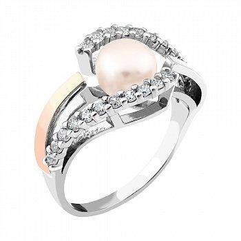 Срібна каблучка з золотою накладкою, перлами, фіанітами і родіюванням 000066711
