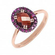 Кольцо в красном золоте Констанция с гранатом и рубинами
