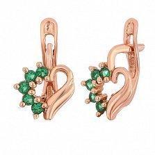 Позолоченные серебряные сережки с зелеными фианитами Любовное послание