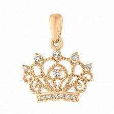 Золотая подвеска Знак королевы с фианитами
