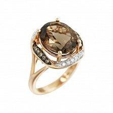 Золотое кольцо Ребекка с раухтопазом, белыми и коньячными бриллиантами