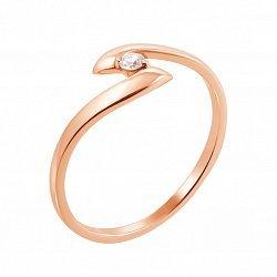 Золотое кольцо Зетта в красном цвете с бриллиантом
