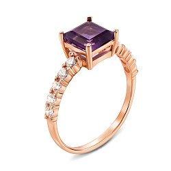 Кольцо из красного золота с аметистом и фианитами 000137454