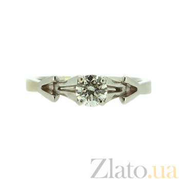 Золотое кольцо в белом цвете с бриллиантом Вивиан 000021491