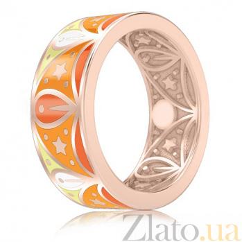 Обручальное кольцо из розового золота с эмалью Талисман: Добра 3067