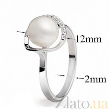 Кольцо в белом золоте с жемчугом Наяда SG--11329501