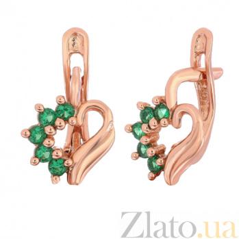Позолоченные серебряные сережки с зелеными фианитами Любовное послание SLX--С3ФИ/014