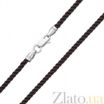 Темно-коричневый крученый шелковый шнурок Милан с серебряным замком, 2,5 мм 000078988
