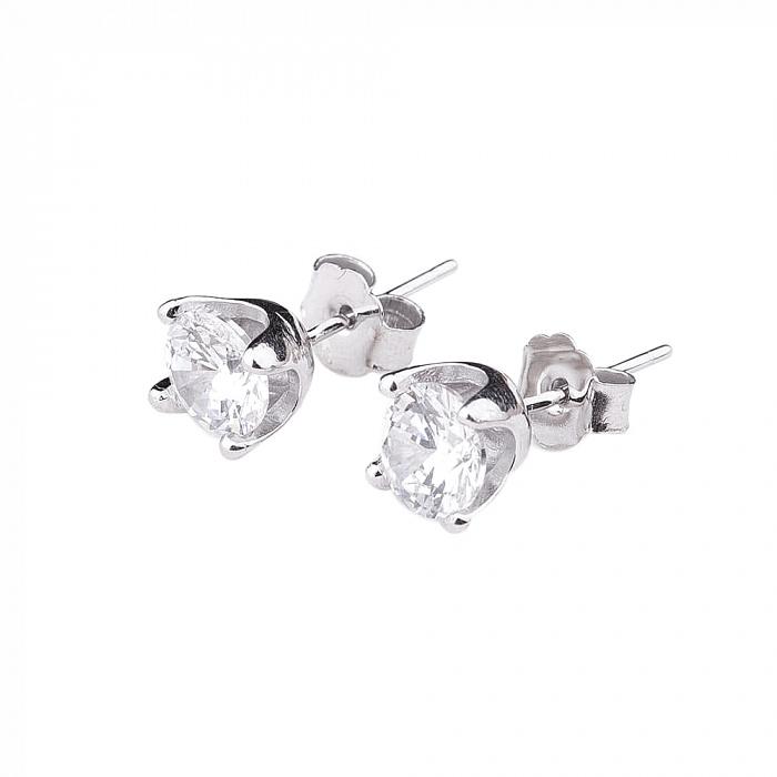Серебряные серьги-пуссеты Ава с цирконием 000080160
