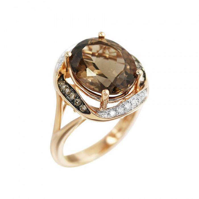 Золотое кольцо Ребекка с раухтопазом, белыми и коньячными бриллиантами 000080890