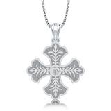 Крестик из белого золота с бриллиантом Тайна: Верность