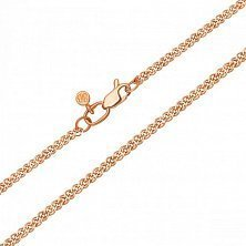 Золотая цепочка Карлис в красном цвете плетения нонна, 1мм