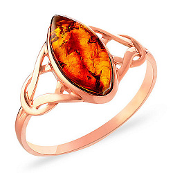 Кольцо из красного золота с янтарем Шанталь