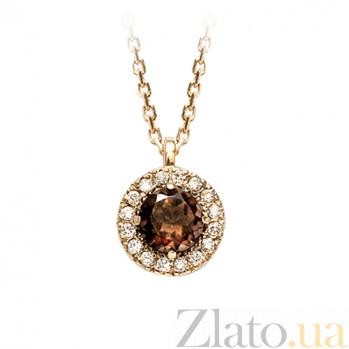 Золотой подвес с раухтопазом и бриллиантами Кэтрин 000029637