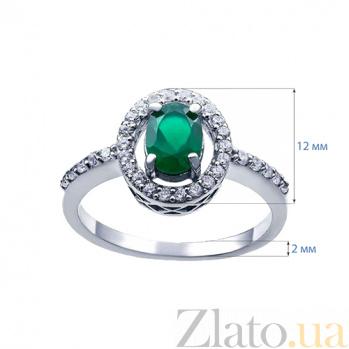 Серебряное кольцо с зеленым агатом и цирконами Клеопатра AQA--R00954Ag