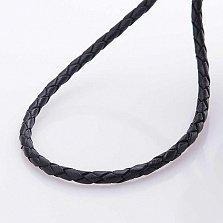 Кожаный шнурок Свобода с серебряной позолоченной застежкой