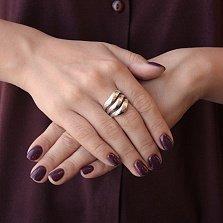 Широкое серебряное кольцо Лола с разделенной на три части шинкой