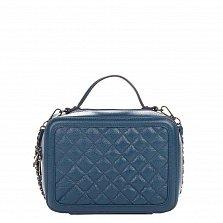 Кожаная деловая сумка Genuine Leather 8891 синего цвета с перекресной строчкой и съемным ремнем