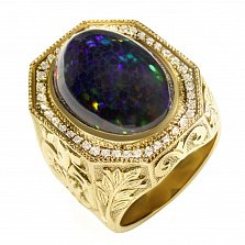 Золотой перстень Блумберг с широкой узорной шинкой, опалом и бриллиантами