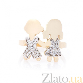 Золотое кольцо Дочка и Сын в желтом цвете с белыми фианитами 000082420