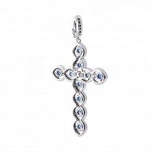 Золотой крестик Кантилена с сапфирами, черными и белым бриллиантами