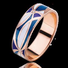 Золотое кольцо Небо любви с эмалью и бриллиантами