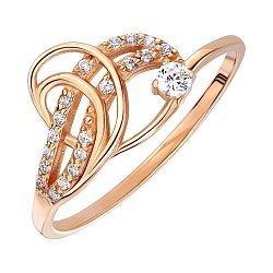 Кольцо из красного золота с фианитами 000140000