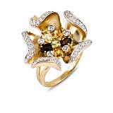 Кольцо Миа из желтого золота с цитрином, кварцем, хризолитом и бриллиантами