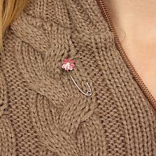 Серебряная булавка с розовой эмалью Ромашка