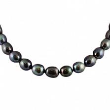 Ожерелье из черного жемчуга Виола с серебряным замком