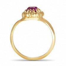 Золотое кольцо Астрея с синтезированным аметистом и фианитами