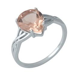 Серебряное кольцо Смиляна с узорной шинкой и нано морганитом