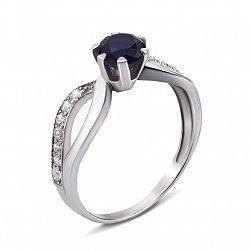 Серебряное кольцо с гидротермальным сапфиром и фианитами 000136271
