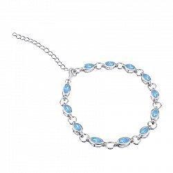Серебряный браслет Анна с голубым цирконием