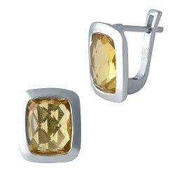 Серебряные серьги с завальцованным синтезированным цитрином 000105582