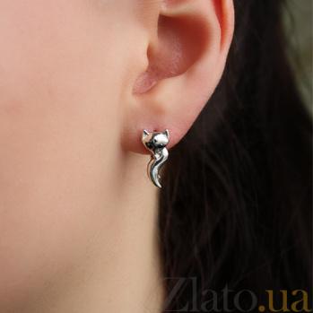 Серебряные серьги с чёрными фианитами Лиса 000035420
