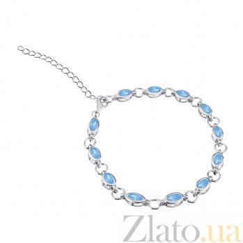 Серебряный браслет Анна с голубым цирконием 000027974