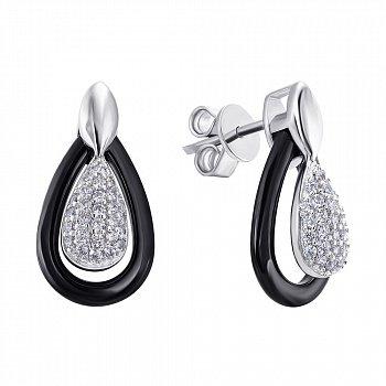 Серебряные серьги-пуссеты с цирконием и керамикой 000141163