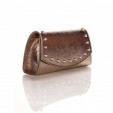 Кожаный клатч Genuine Leather 1692 бронзового цвета с декоративными элементами и цепочкой
