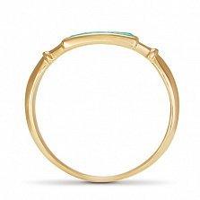 Золотое кольцо Адриана в красном цвете с синтезированными изумрудами