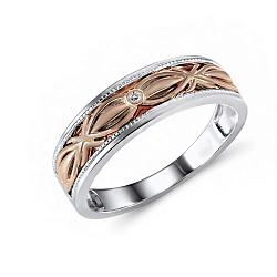 Обручальное кольцо из красного и белого золота Фортунетта с бриллиантом