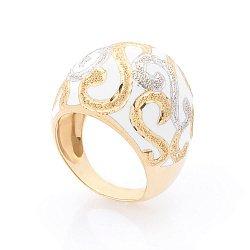 Дизайнерский перстень Зимний орнамент в желтом золоте с белой эмалью и фактурным узором